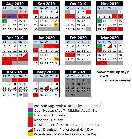 de Paul School Calendar 2019-20