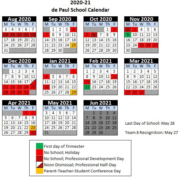 2020-2021 de Paul Calendar